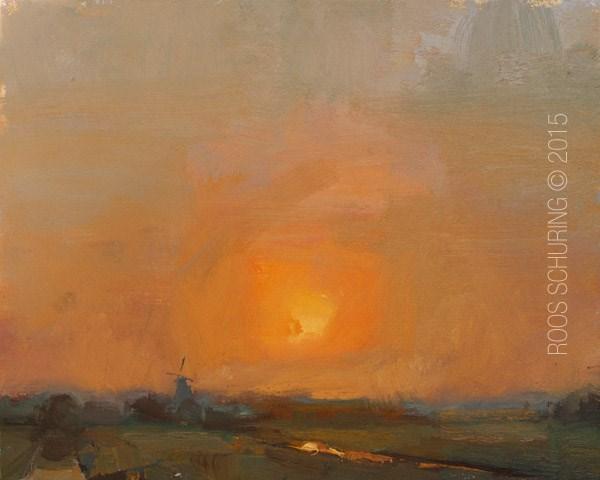 """Landscape The Sun"" original fine art by Roos Schuring"