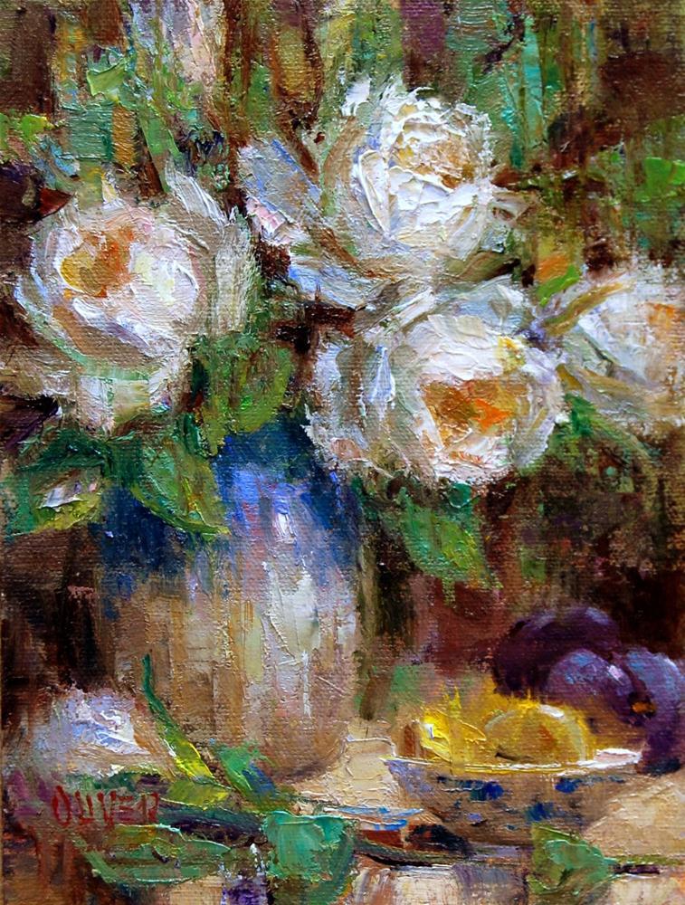 """Lemon Slices and White Roses"" original fine art by Julie Ford Oliver"