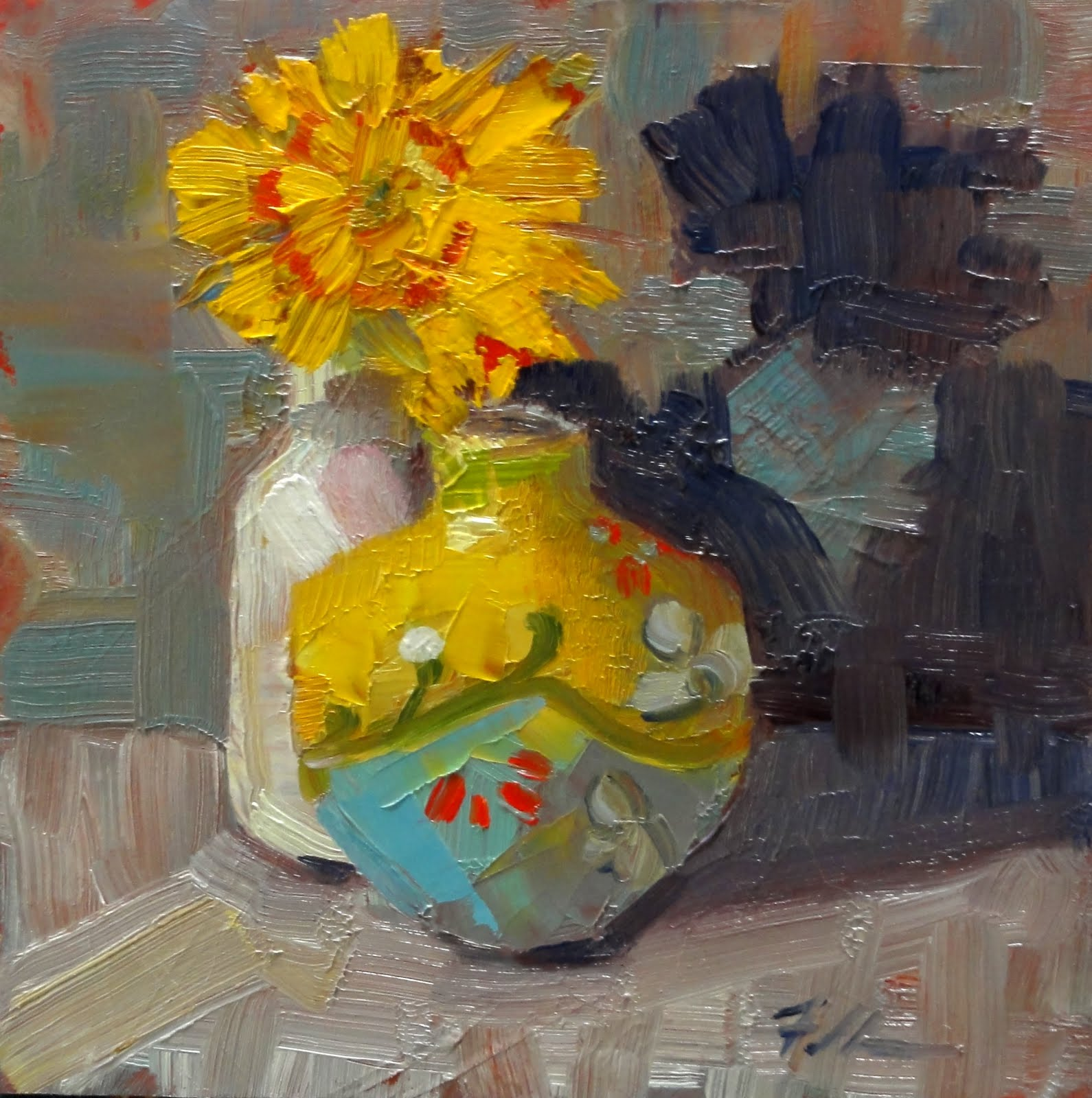 """Vase Buddies, 6x6"" original fine art by Ann Feldman"