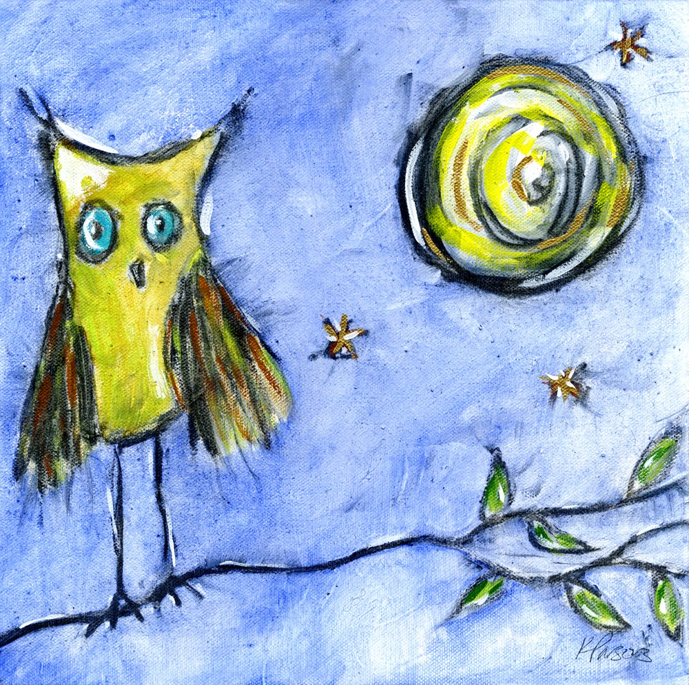 """""""The Owl and the Moon"""" original fine art by Kali Parsons"""
