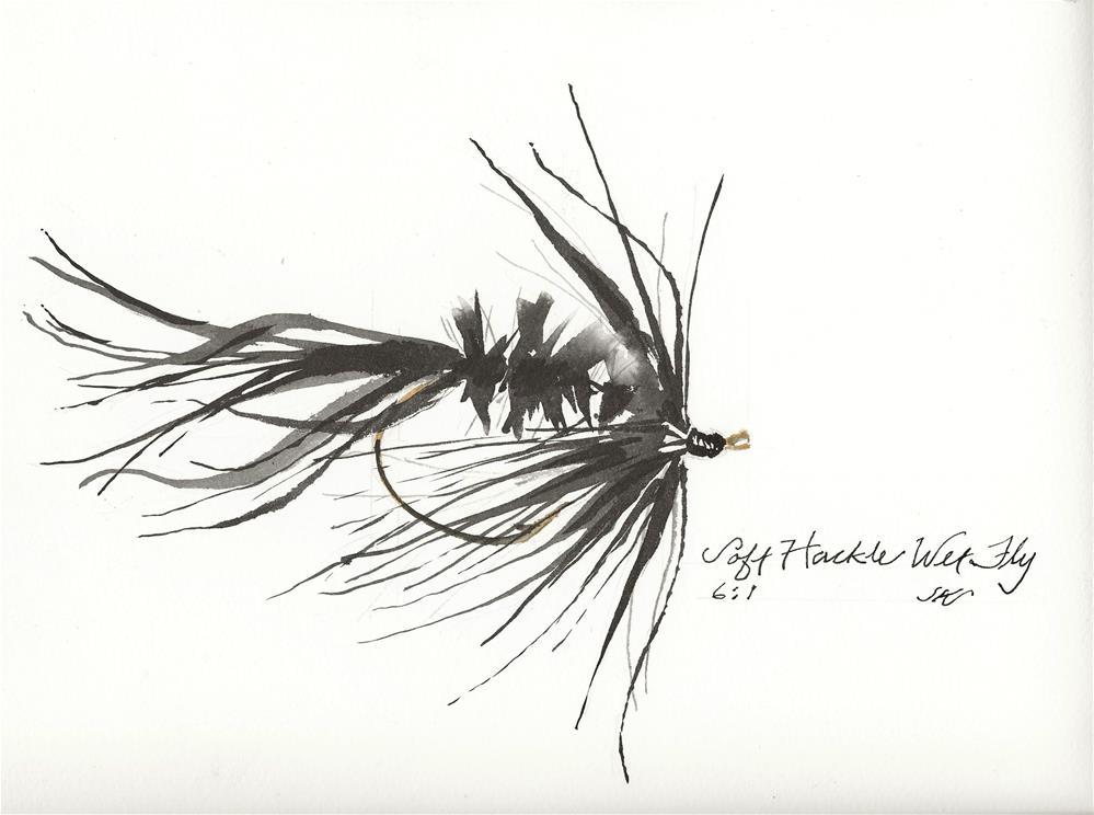 """""""Soft Hackle Wet Fly"""" original fine art by Jean Krueger"""