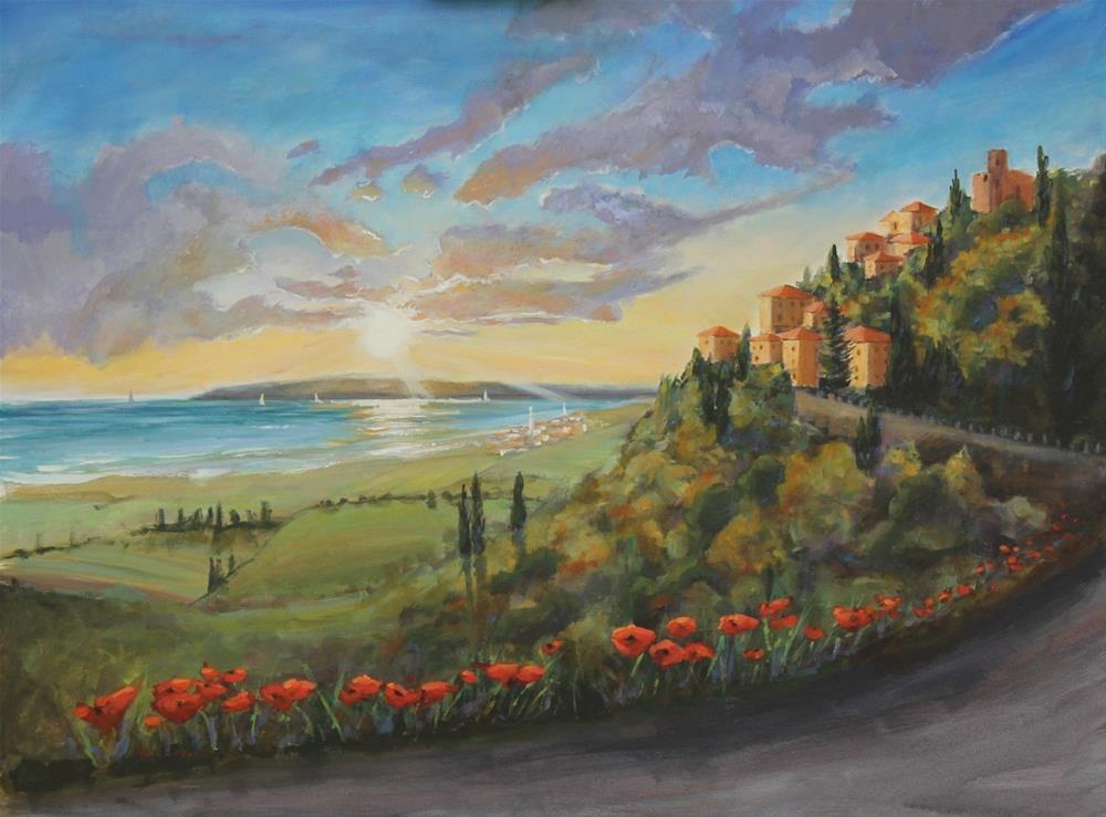 """Buonasera Scarlino - Good Evening Sarlino Italy"" original fine art by Linda Marino"