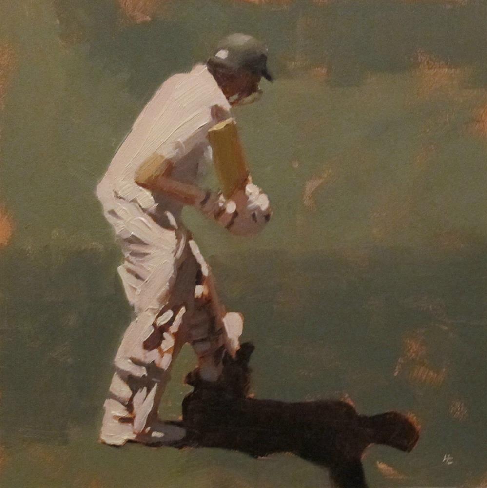 """""""BATSMAN 3 - Cricket at the MCG"""" original fine art by Helen Cooper"""