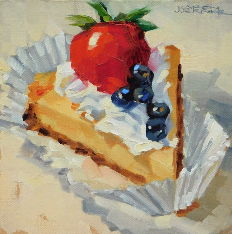 """Cheesecake & The Big Berry"" original fine art by Karen Werner"