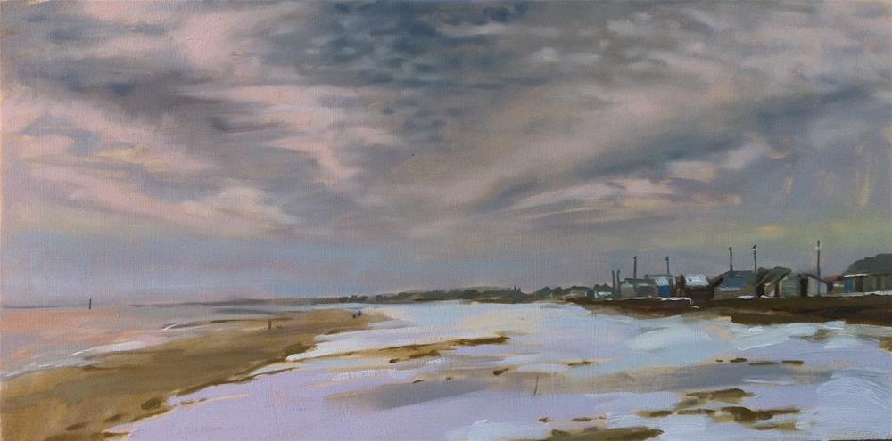 """""""Snow on beach, Sutton-on-sea"""" original fine art by Haidee-Jo Summers ROI"""