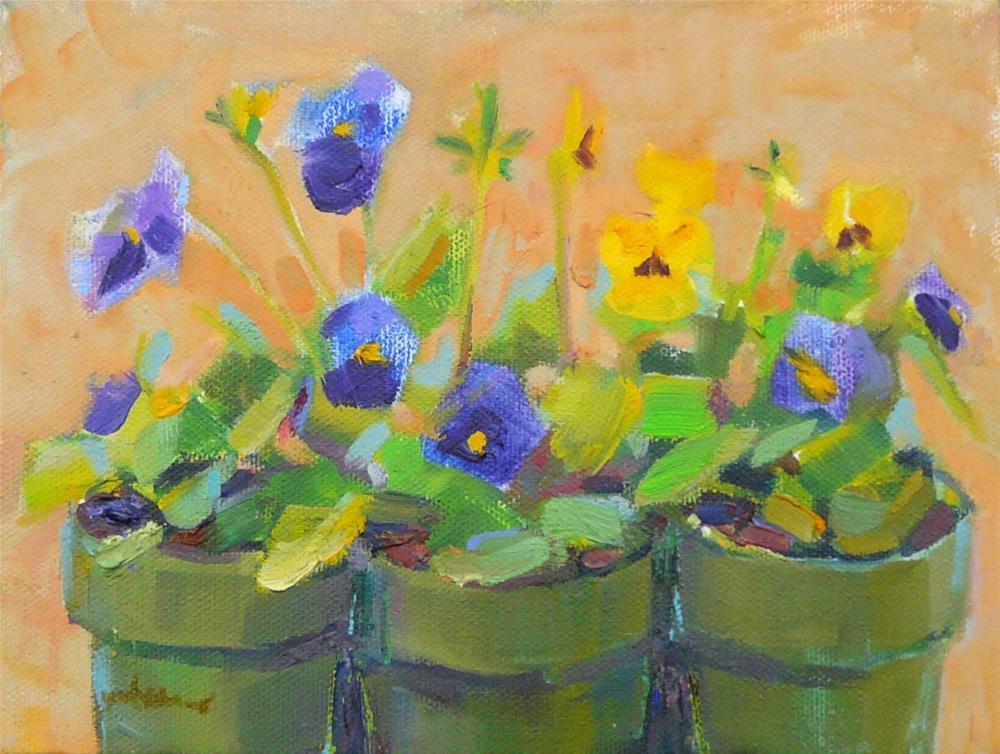 """Sunny Pansies,still life,oil on canvas,6x8,price$200"" original fine art by Joy Olney"