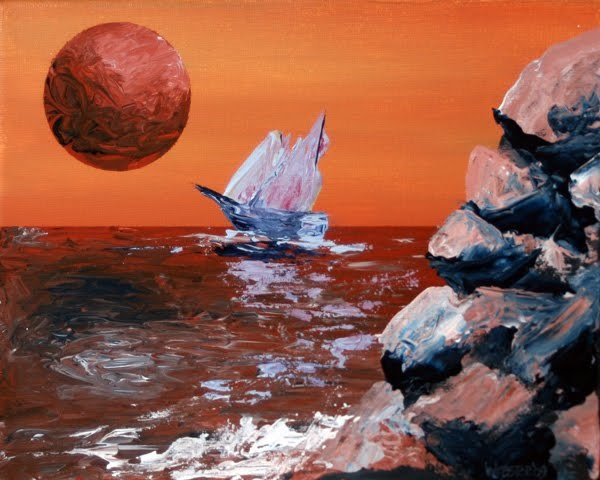 """""""Mark Webster - Sailing off the Edge of Planet X - Abstract Acrylic Painting"""" original fine art by Mark Webster"""