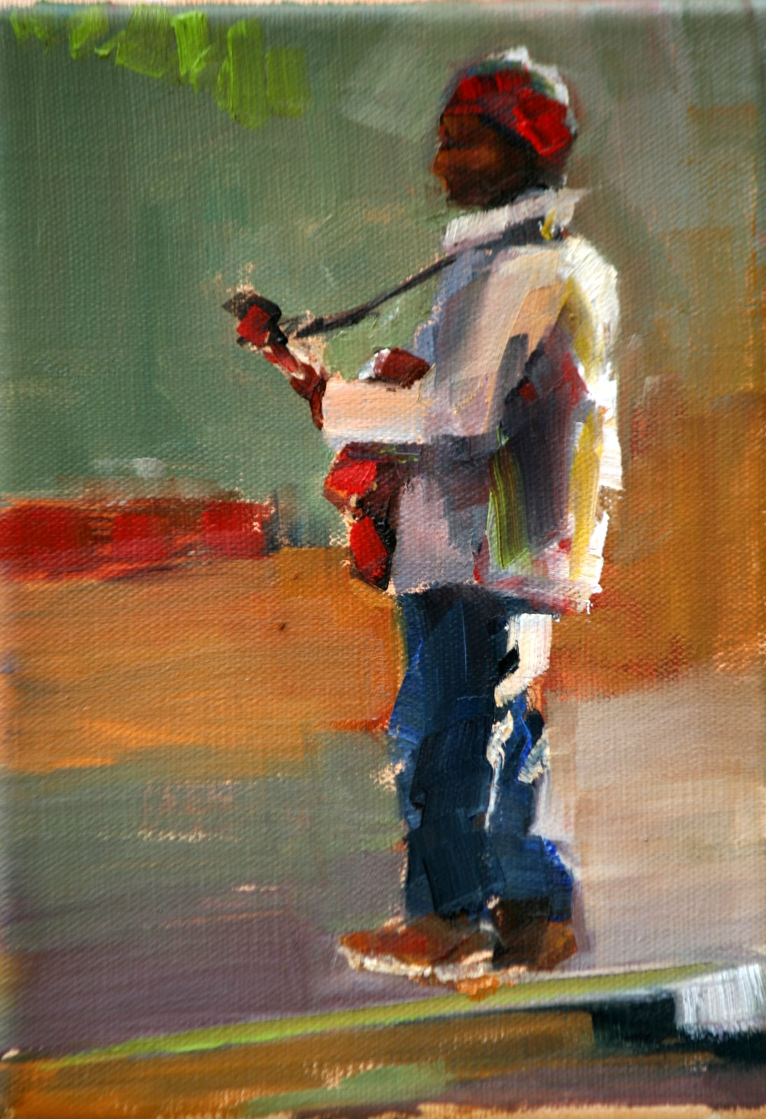 """strumming in asheville"" original fine art by Carol Carmichael"