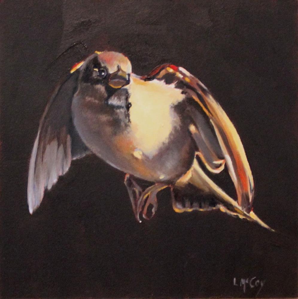 """Evanescent, Sparrow Bird Oil Painting"" original fine art by Linda McCoy"