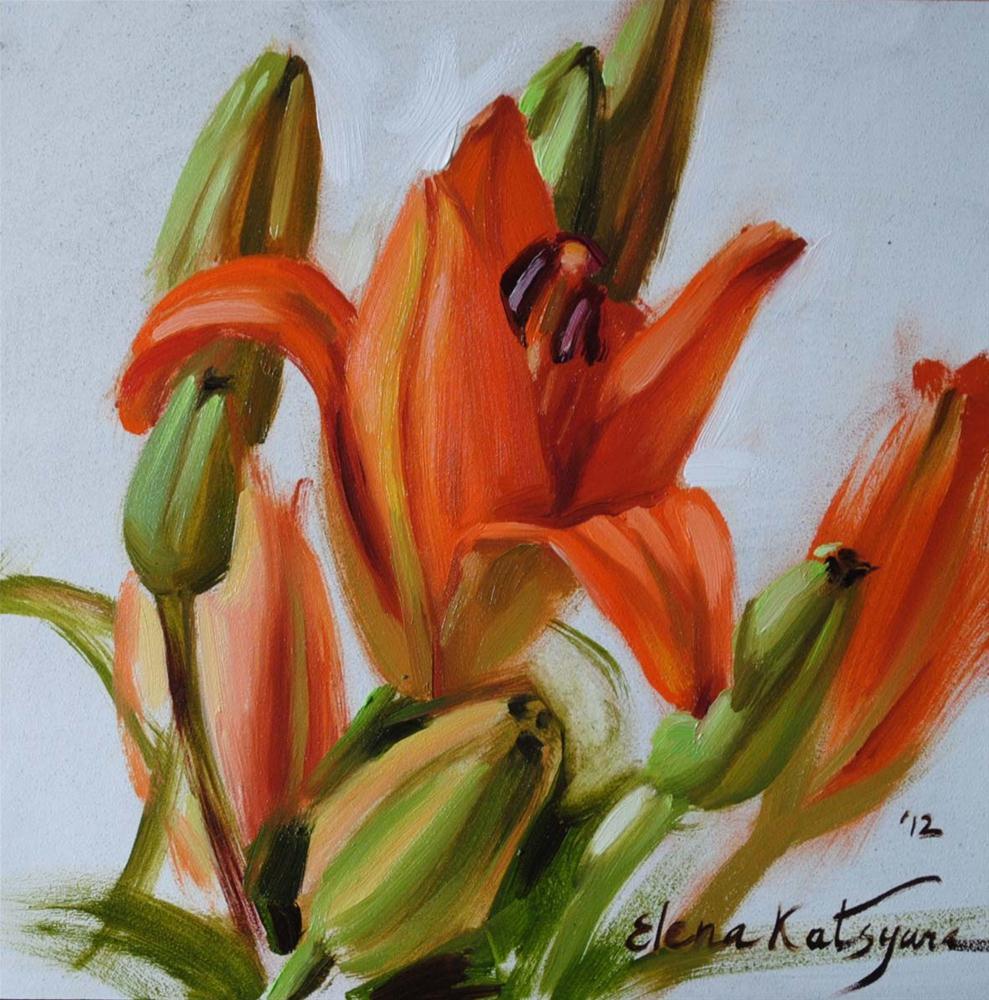 """Daytime Lilies"" original fine art by Elena Katsyura"