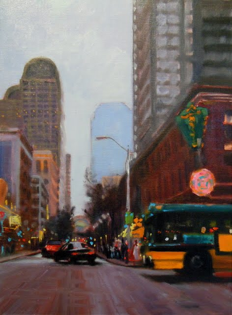 """First and Pike Seattle city scenes, oil cityscape"" original fine art by Robin Weiss"