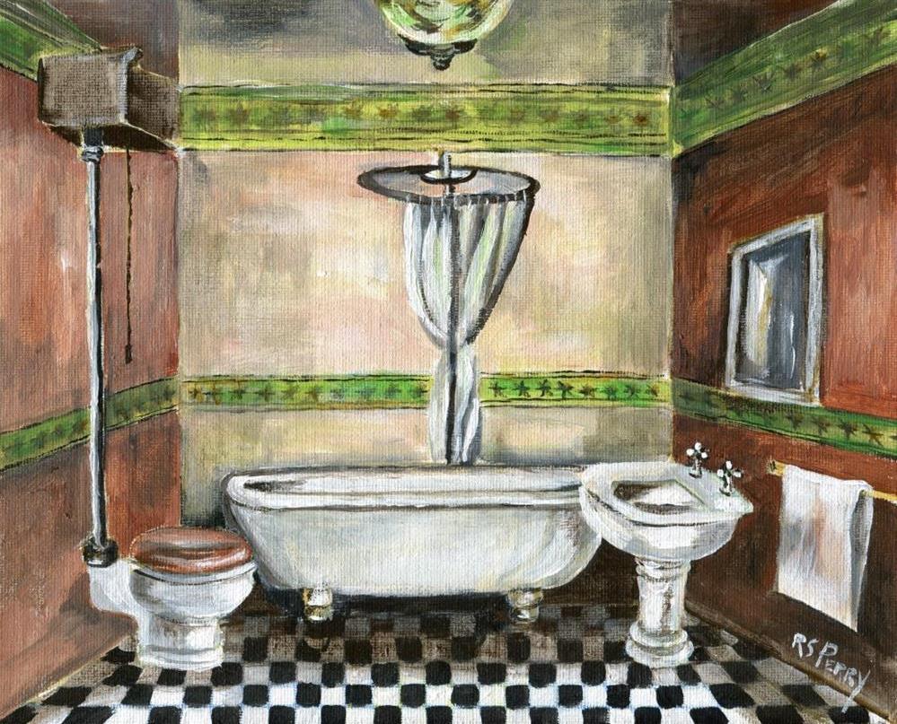 """Victorian era bathroom"" original fine art by R. S. Perry"