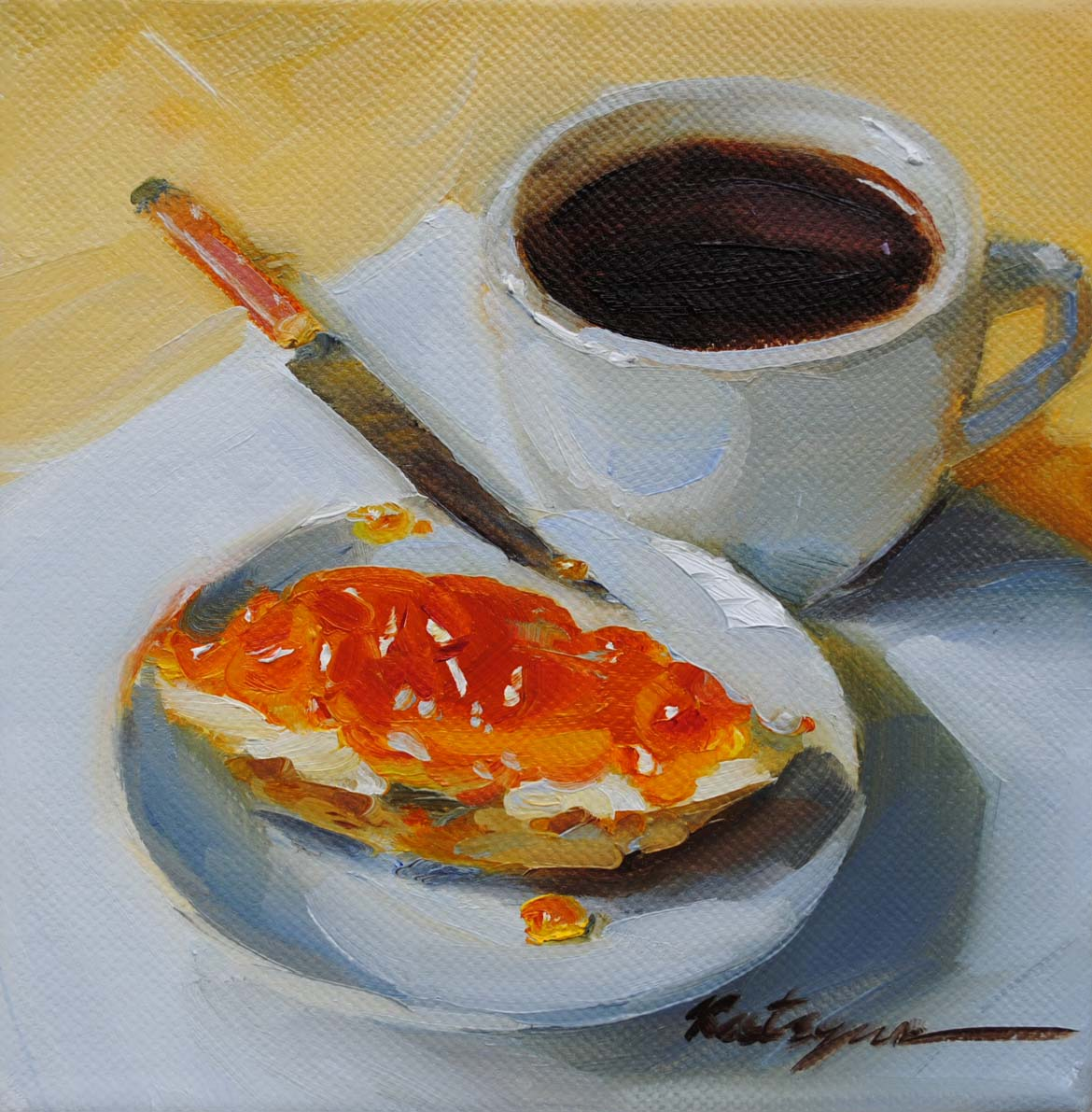 """Bread &Jam"" original fine art by Elena Katsyura"