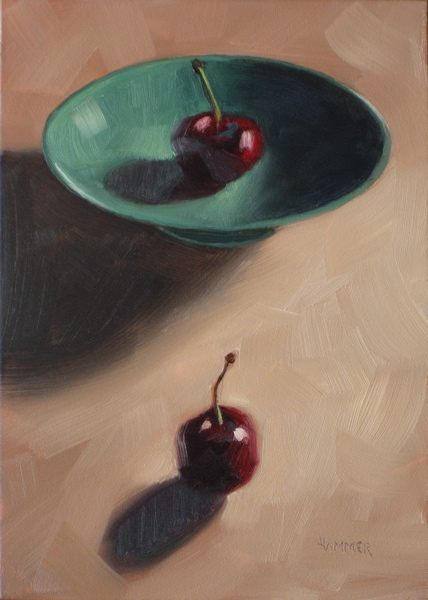 """Eying one another 5x7 oil on panel"" original fine art by Claudia Hammer"