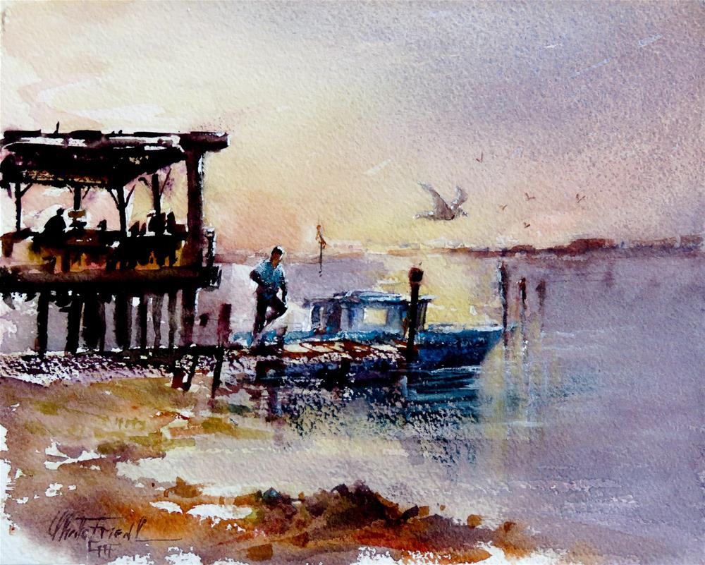 """Sunset at Lynn´s Oysters"" original fine art by Christa Friedl"