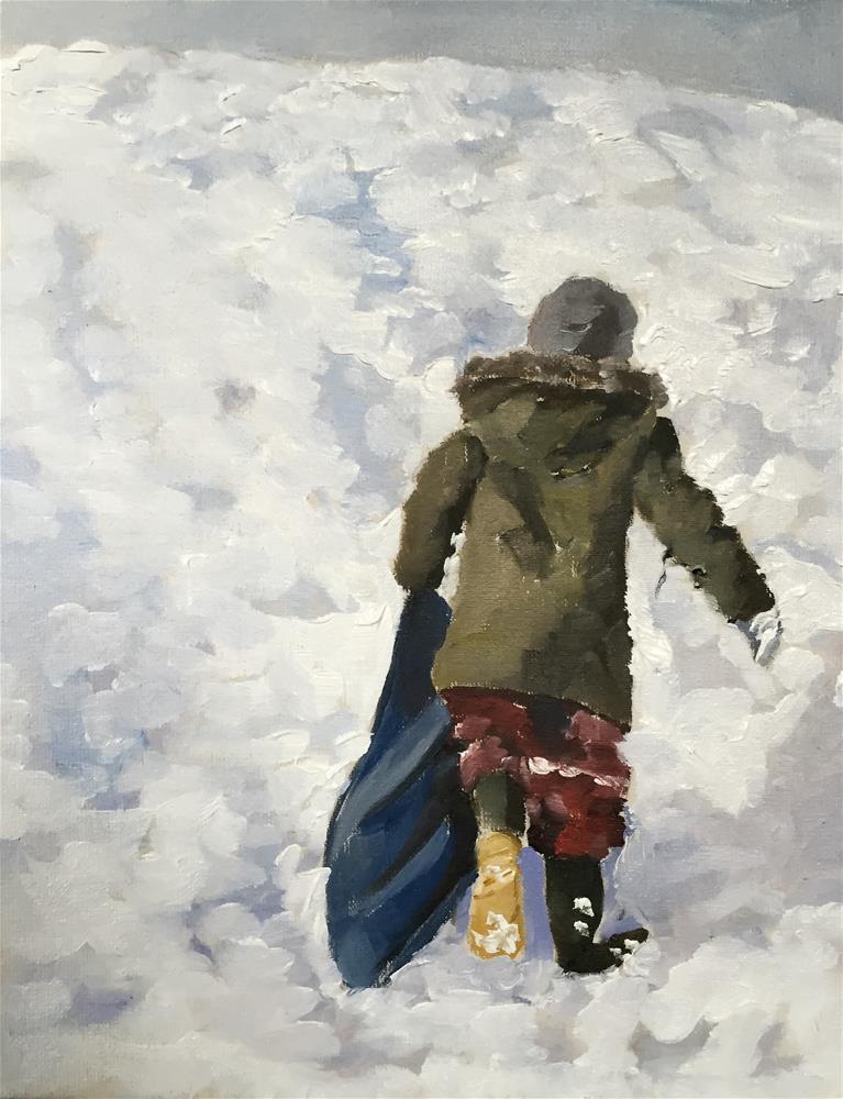 """Boy in Snow"" original fine art by James Coates"