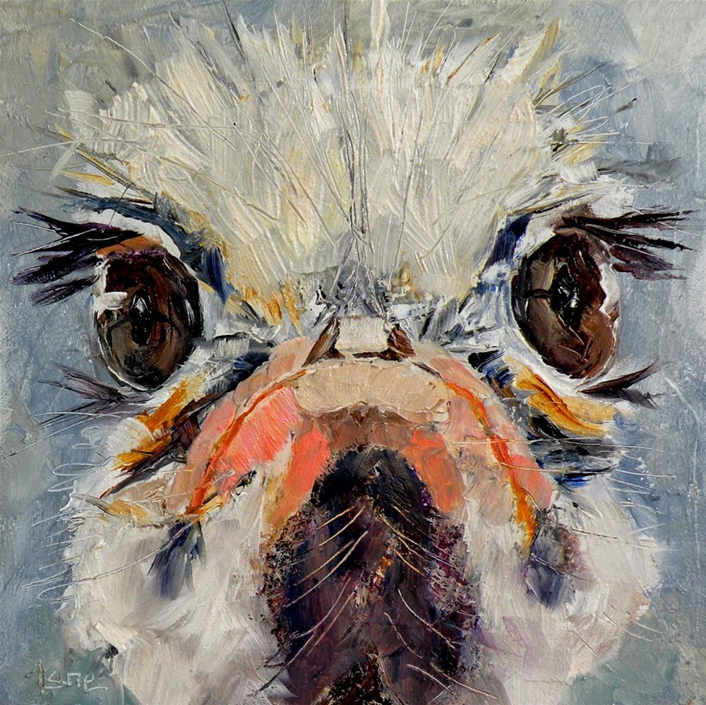 """""""LASHES AN OSTRICH 4X4 OIL ON TEXTURED PANEL FOR MY ETSY SHOP © SAUNDRA LANE GALLOWAY"""" original fine art by Saundra Lane Galloway"""