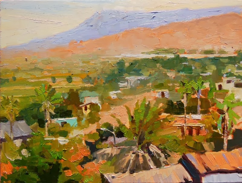 """""""View of Pescadero  Mexico, plein air, landscape painting by Robin Weiss"""" original fine art by Robin Weiss"""
