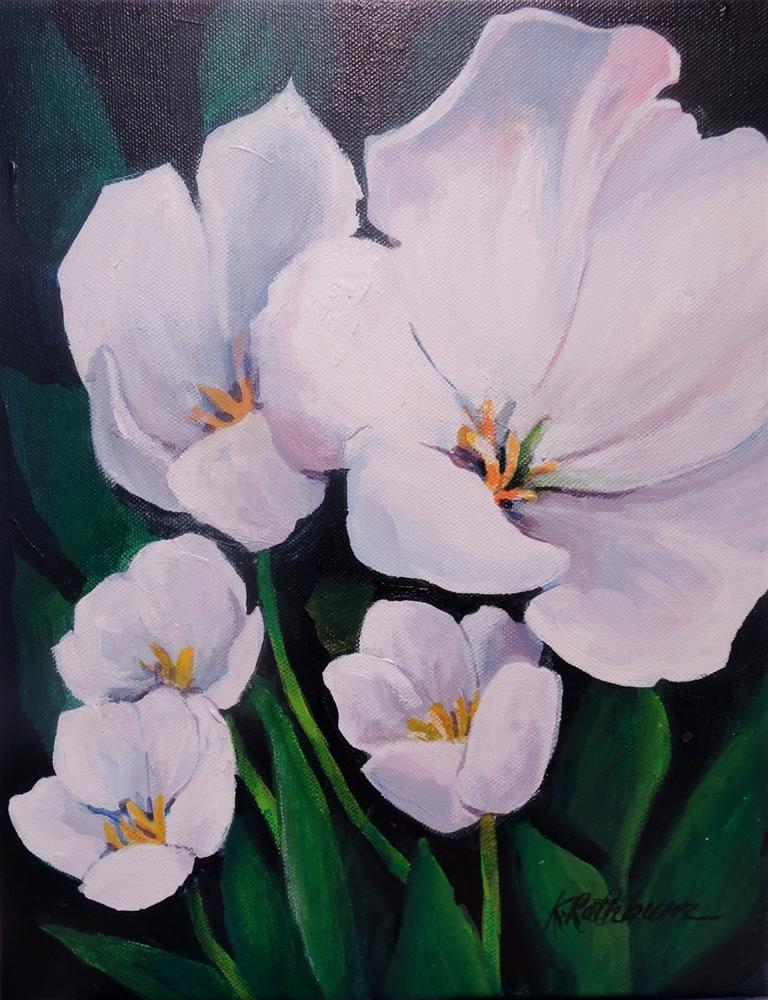 """White Tulips-acrylic"" original fine art by Kathy Los-Rathburn"