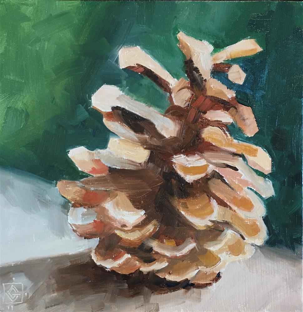 """Pinecone Holiday"" original fine art by Carol Granger"