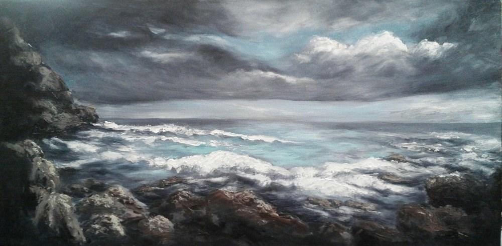 """""""Stormy Sea"""" original fine art by Camille Morgan"""