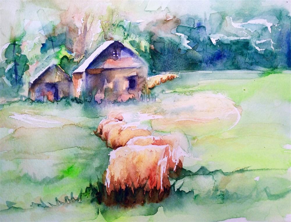 """Michigan Hay Bales"" original fine art by Molly Rohrscheib Hathaway"