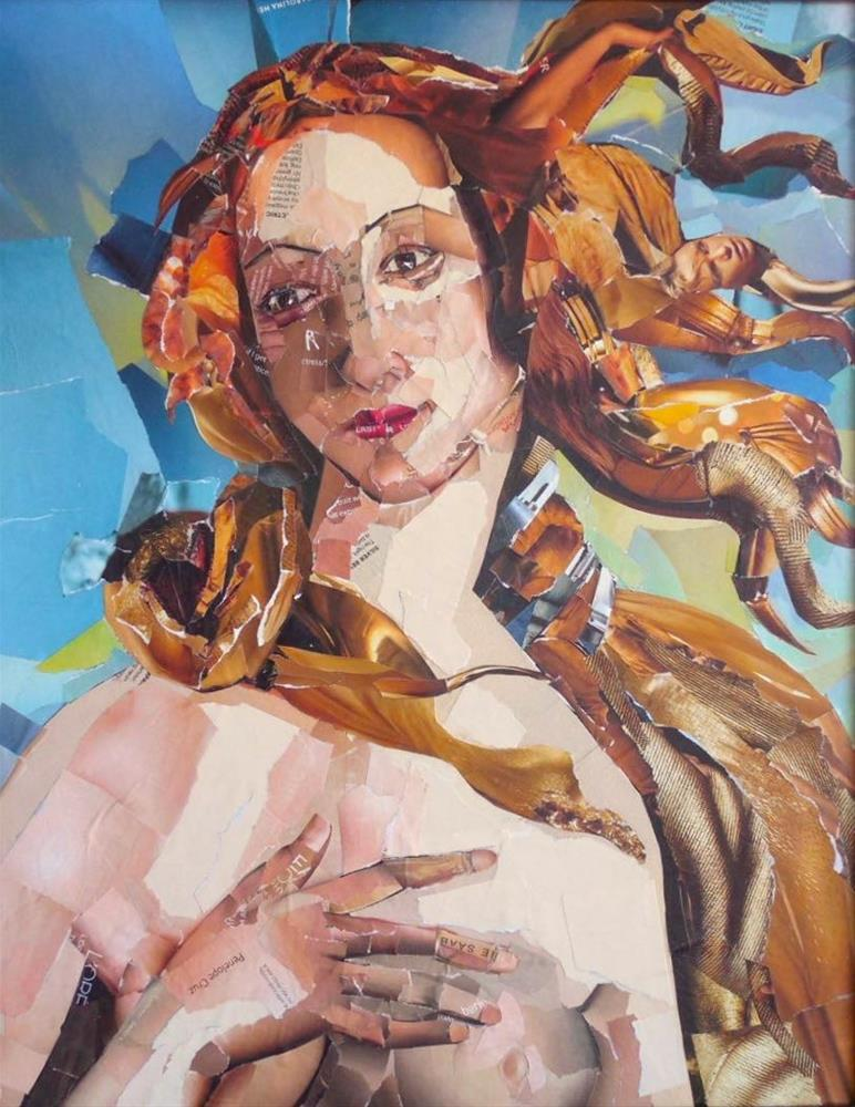 """Simonetta, 16x20 Collage on Canvas, after Sandro Botticelli's Birth of Venus"" original fine art by Carmen Beecher"