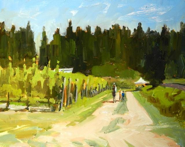 """U-Pick Raspberries  Suyematsu farm, plein air painting by Robin Weiss"" original fine art by Robin Weiss"