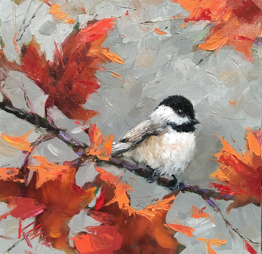 """Chickadee in Fall"" original fine art by Krista Eaton"