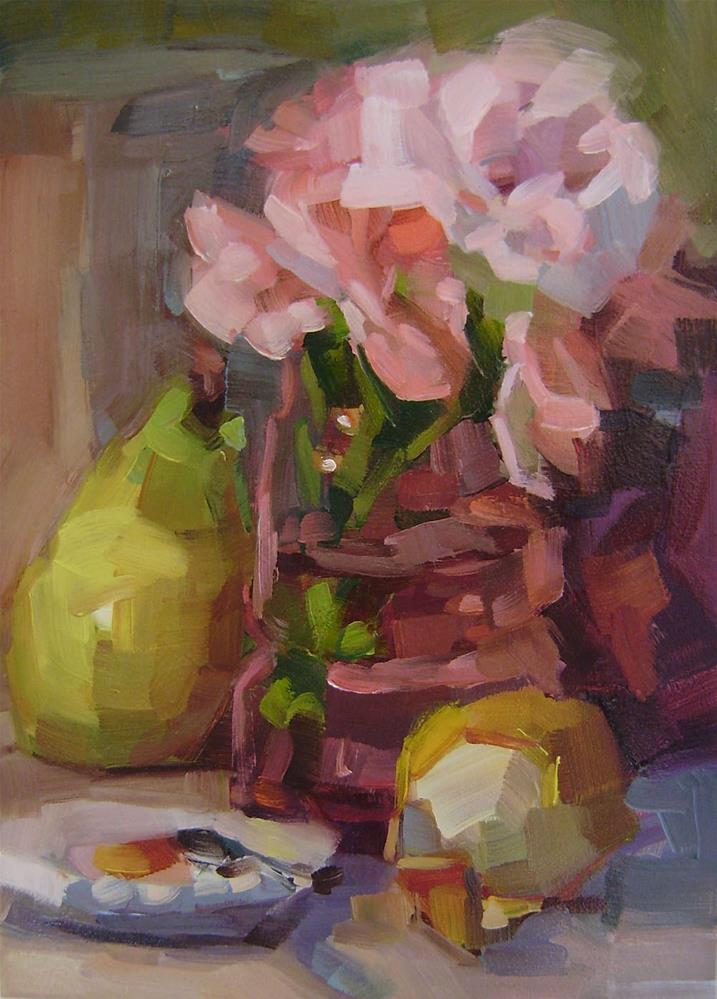 """Roses with Pear"" original fine art by Holly Storlie"