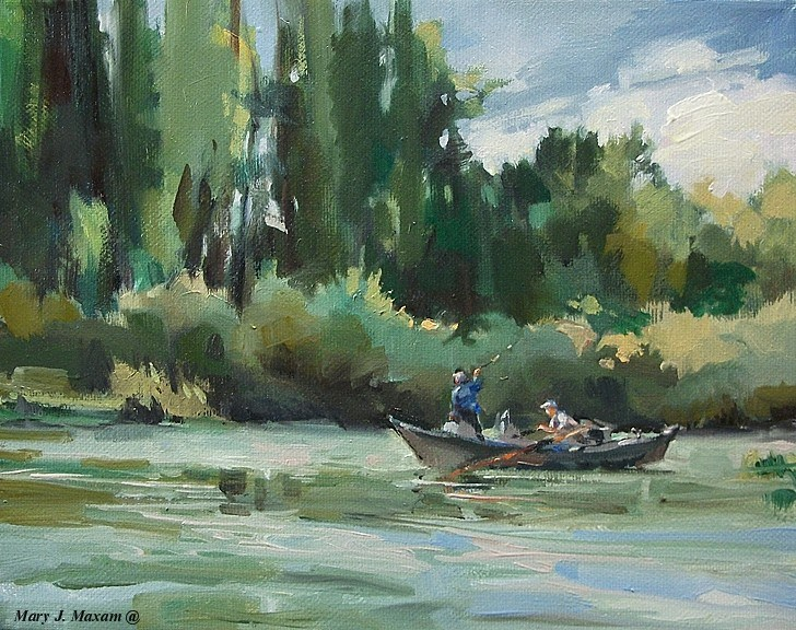 """River's Edge - fly fishing  & watching"" original fine art by Mary Maxam"