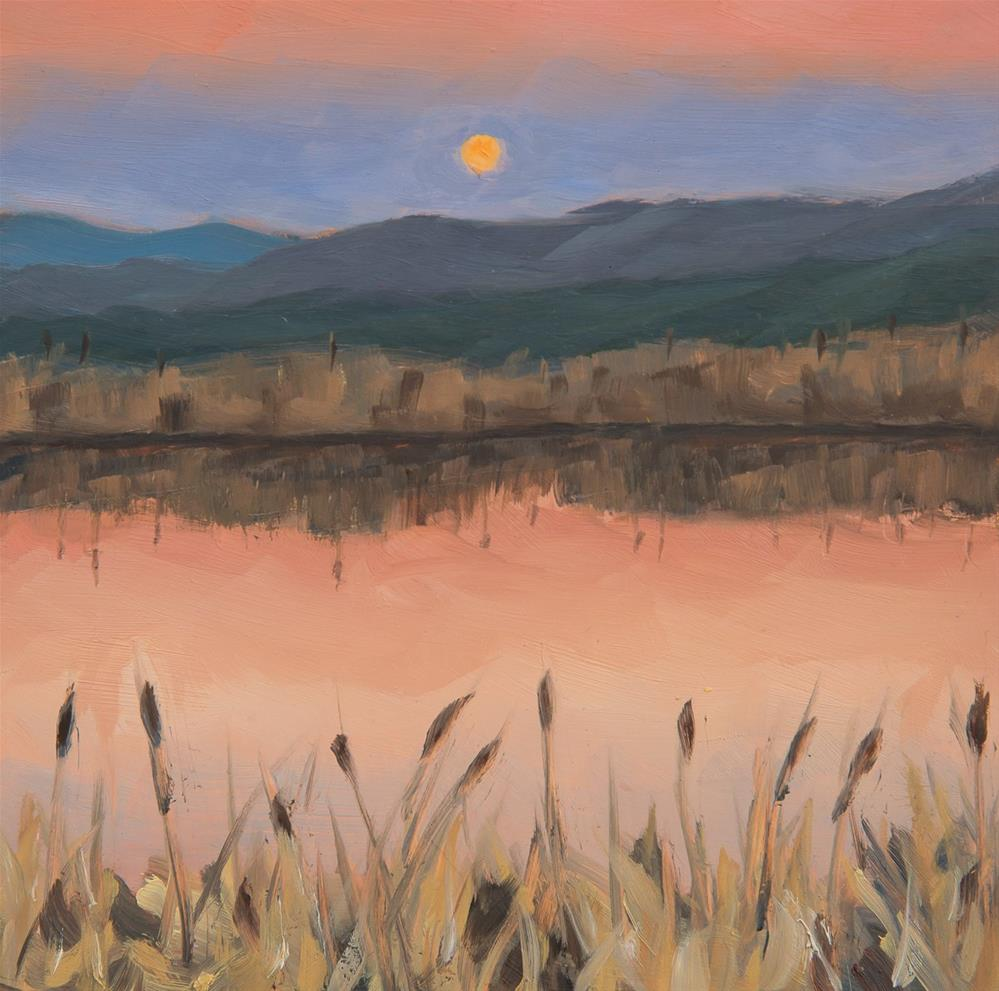 """Supermoon Rising - Stowe, VT"" original fine art by Sara Gray"