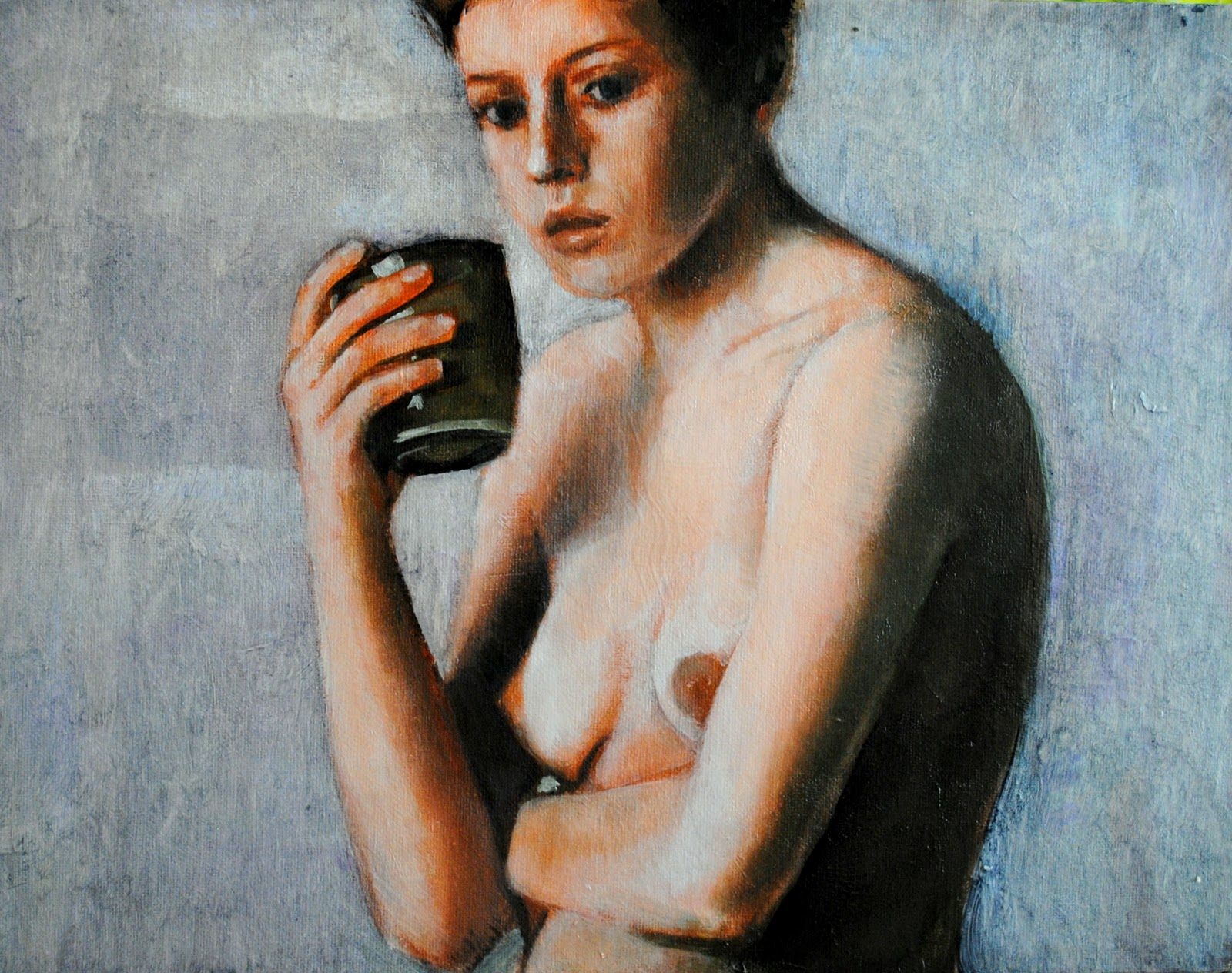 """""""Nude with Cup 12x16 oil on canvas in darkwood frame"""" original fine art by David Larson Evans"""
