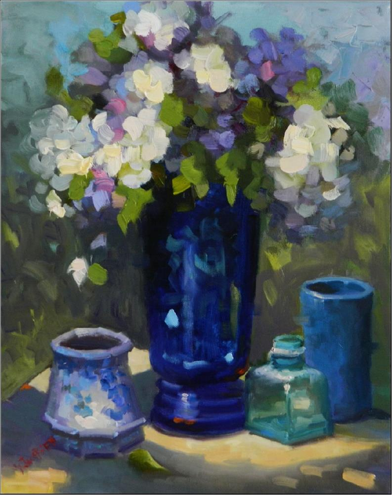 """Morning Blues, 16x20, oil on canvas, blue, hydrangeas, blue florals, Maryanne Jacobsen art, impres"" original fine art by Maryanne Jacobsen"