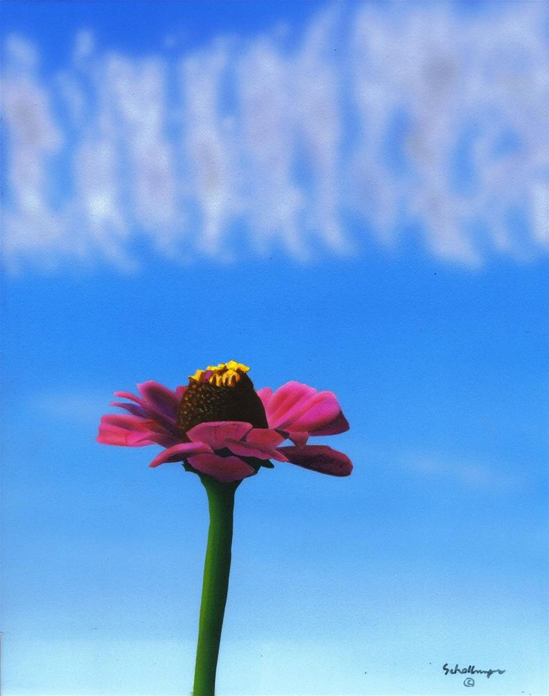 """Zinnia with Clouds"" original fine art by Fred Schollmeyer"