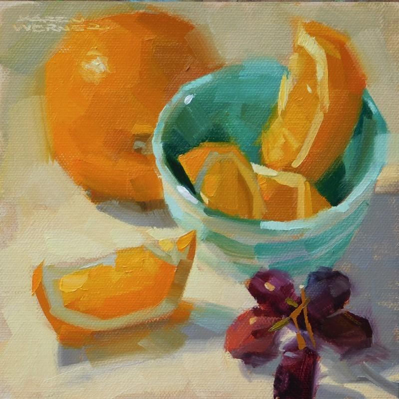 """""""Oranges In Aqua"""" original fine art by Karen Werner"""