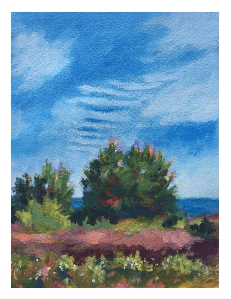 """""""Mackerel Sky At Lobster Cove"""" original fine art by Suzanne Woodward"""