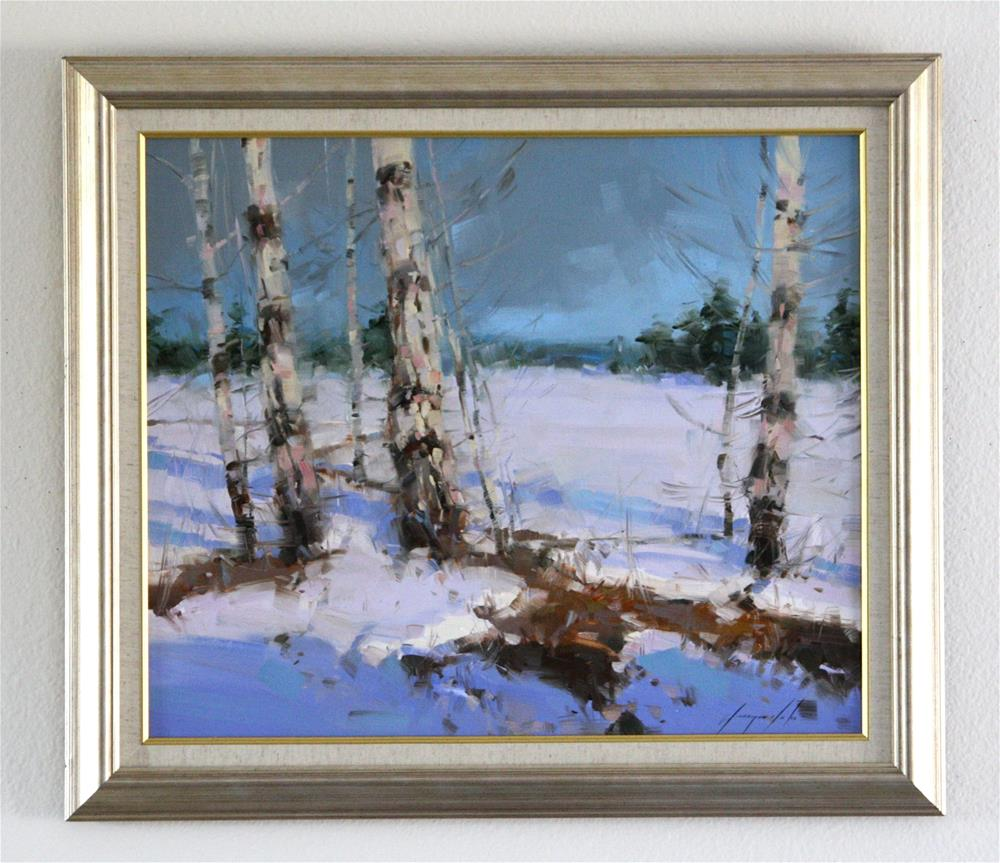 """WINTER ORIGINAL OIL PAINTING IMPRESSIONISM FRAMED GALLERY QUALITY"" original fine art by V Y"
