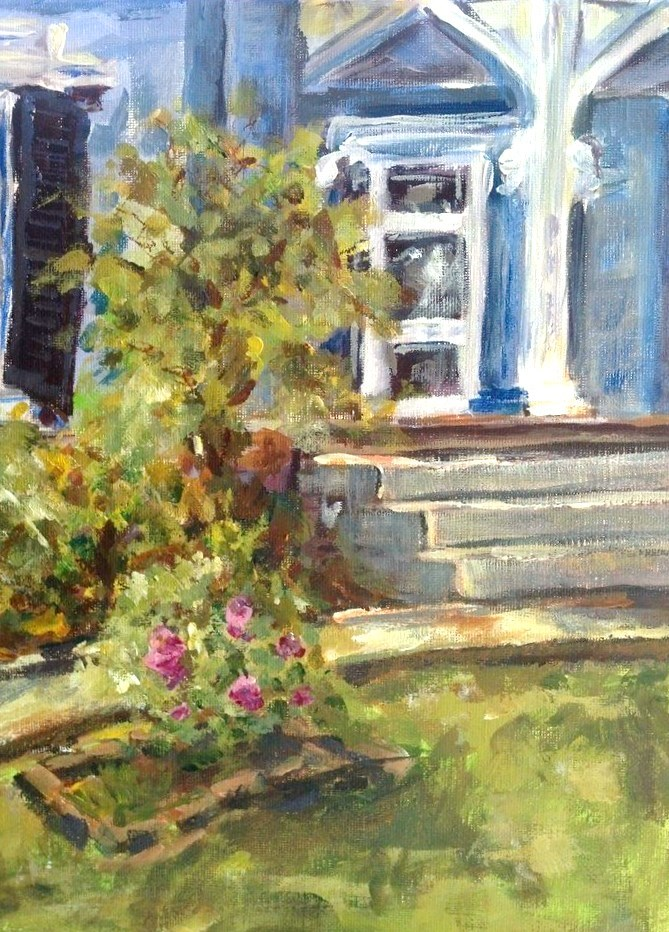 """Peonies of the Athenaeum  (Athenaeum Rectory, Columbia, Tennessee)"" original fine art by Susan Elizabeth Jones"