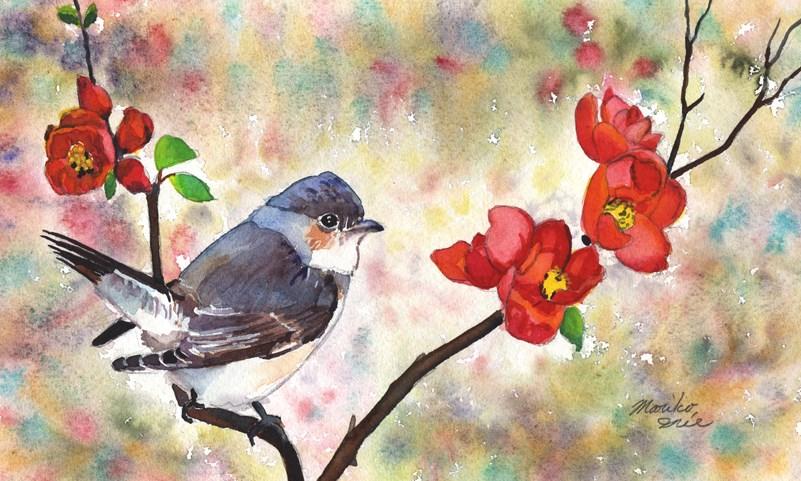 """""""Quince and a Bird"""" original fine art by Mariko Irie"""