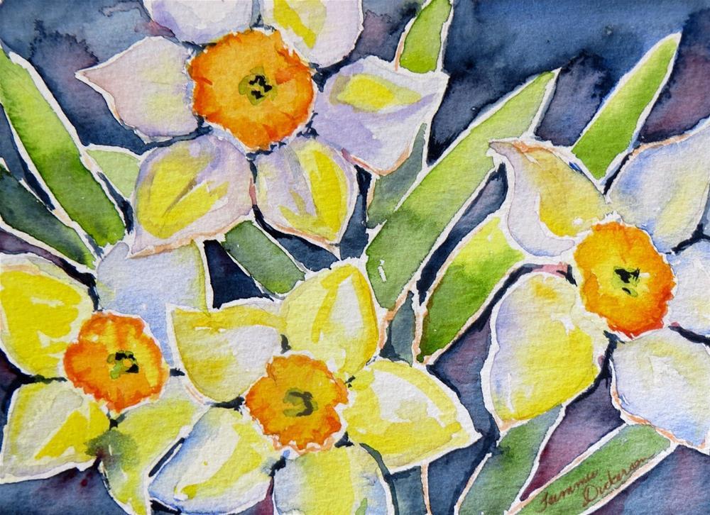 """""""Watercolor Daffodils"""" original fine art by Tammie Dickerson"""