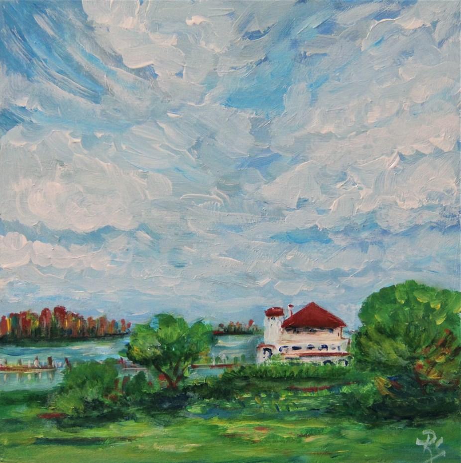 """Belle Isle Boat House"" original fine art by Roberta Schmidt"