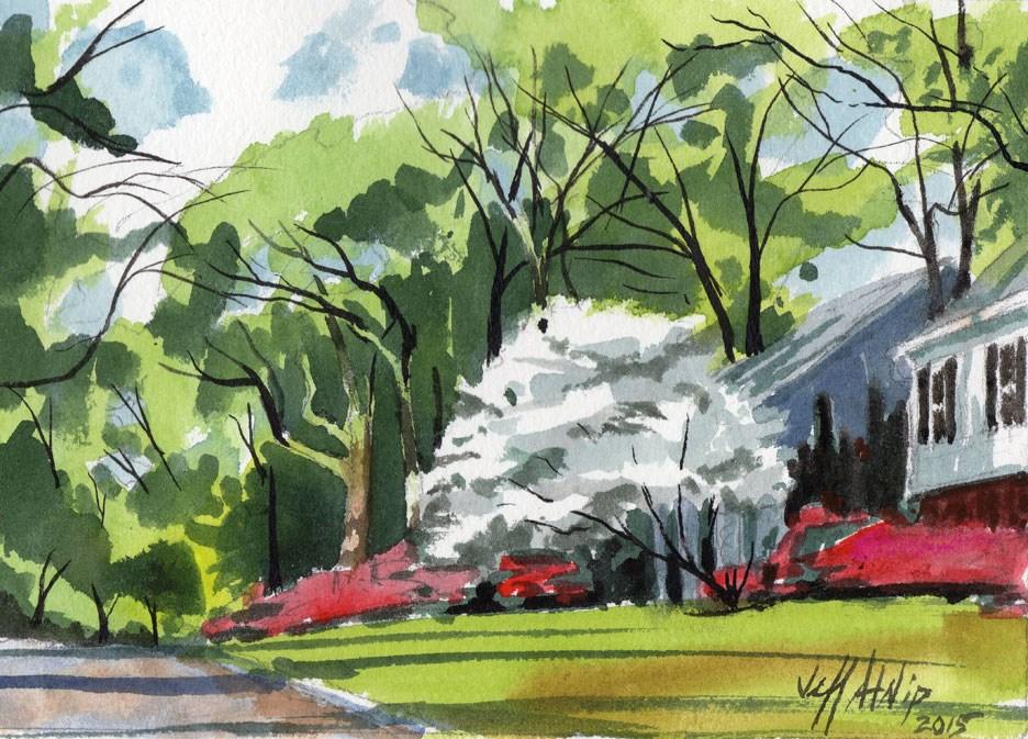 """Serene Spring Suburb Study"" original fine art by Jeff Atnip"