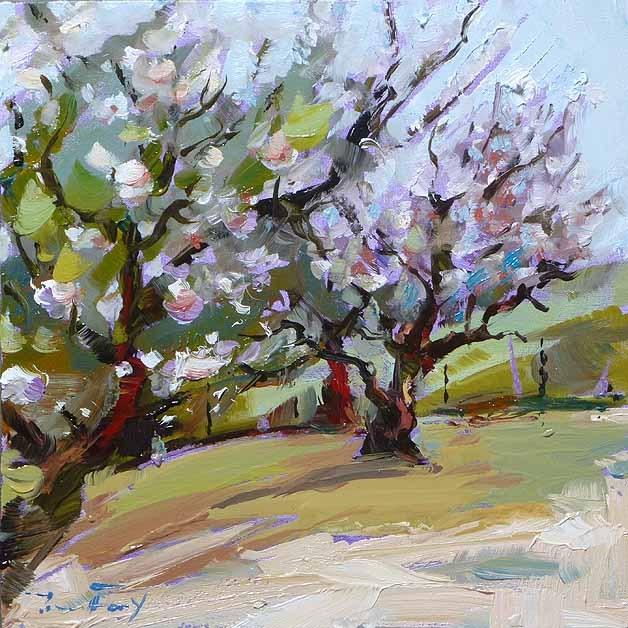 """""""apple trees"""" original fine art by Jurij Frey"""