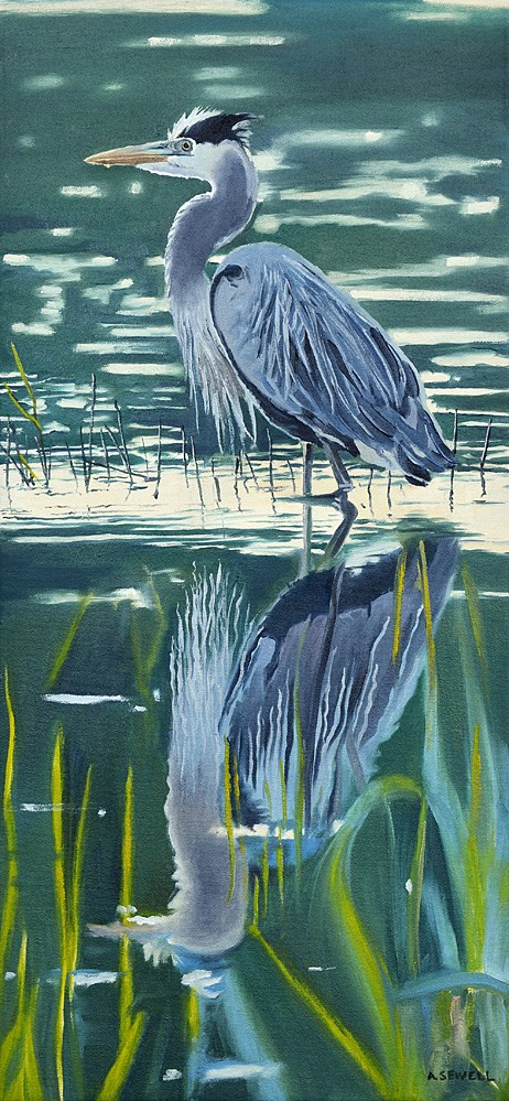 """""""Heron Reflections"""" original fine art by Andy Sewell"""