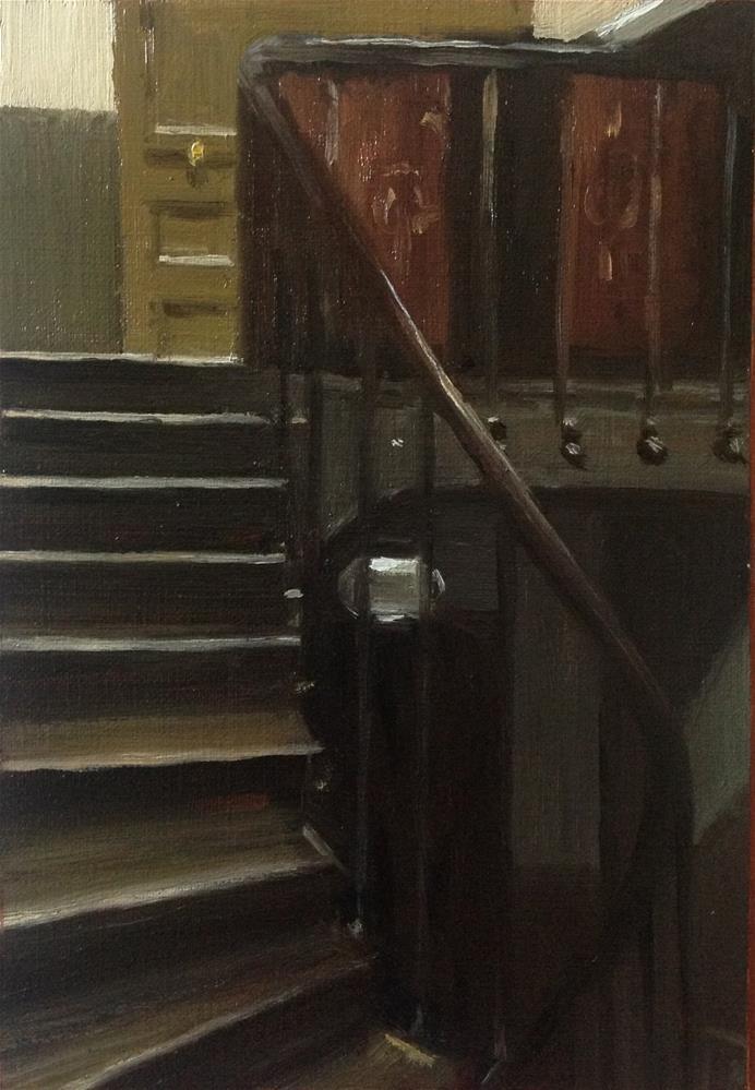 """Study after Stairway at 48 rue de Lille Paris by Edward Hopper"" original fine art by Christine Bayle"