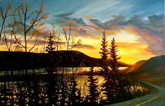 """Little Salmon Lake Sunset"" original fine art by Jackie Irvine"