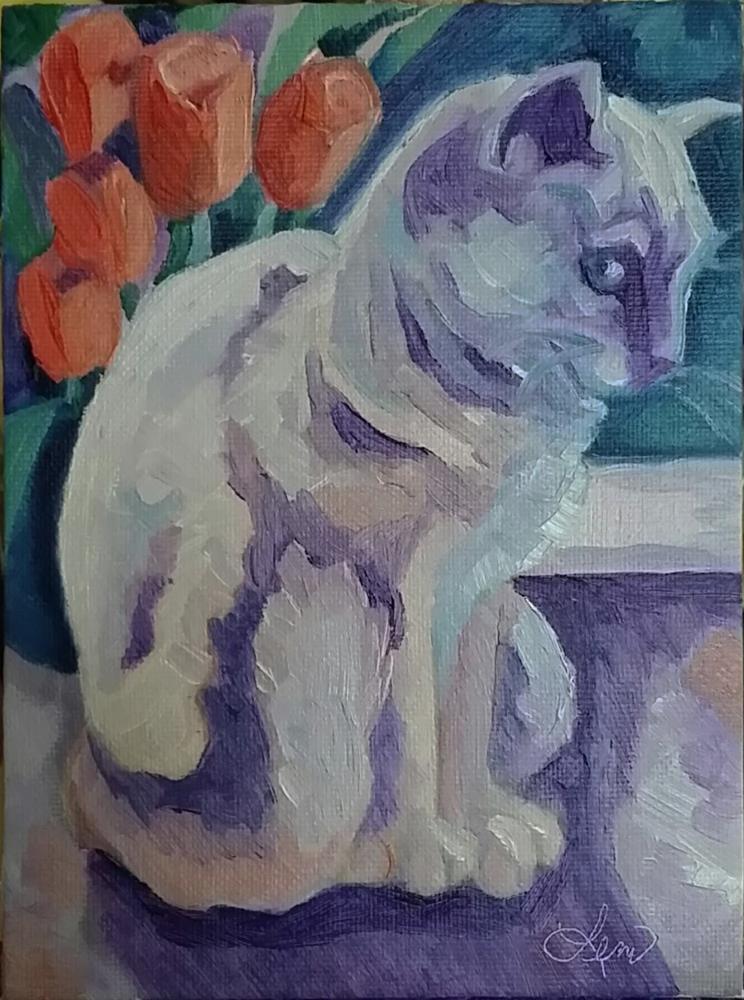 """Sunsplash Cat"" original fine art by Leni Tarleton"
