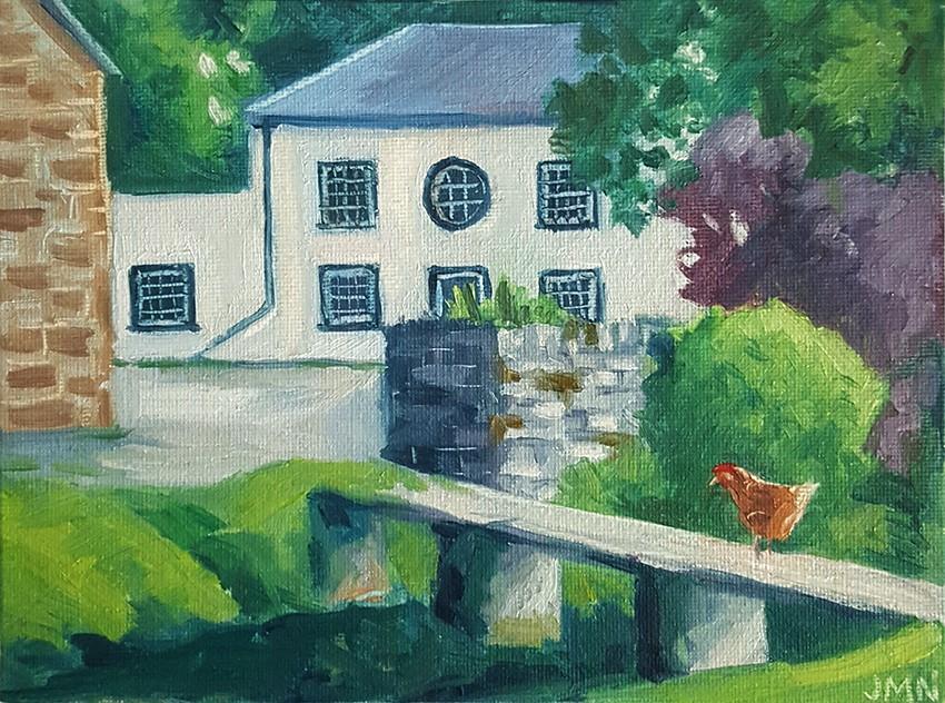 """""""The Chicken's Bridge"""" original fine art by J M Needham"""