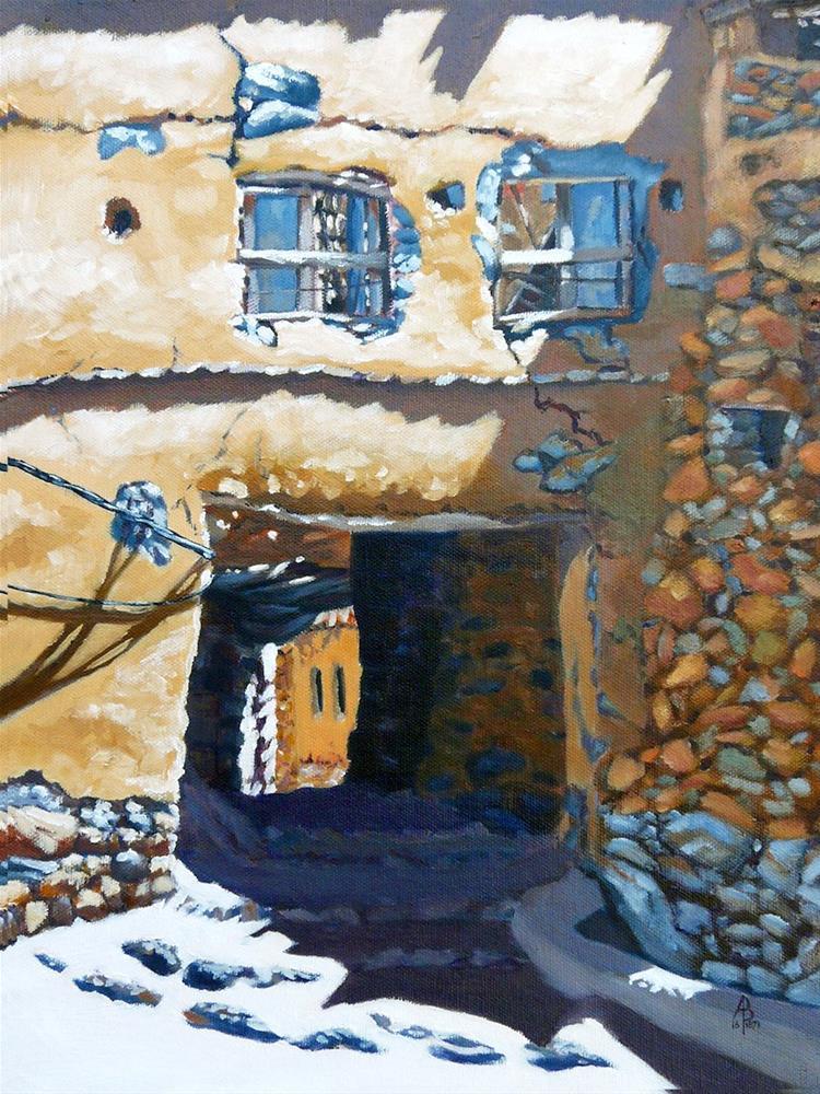 """Ruined gateway, Jebel Akhdar, Oman"" original fine art by Alix Baker PCAFAS AUA"